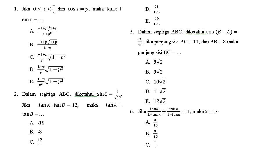 Download Soal Soal Dan Jawaban Matematika Kelas X Sma